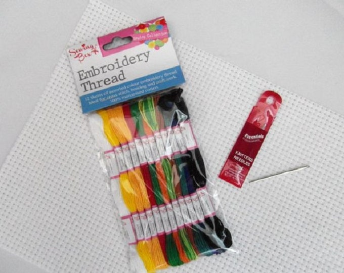 Childs Sewing Kit- White Binca fabric x 2 Pack of 12 Threads Pack of Blunt Needles Embroidery Cross Stitch Learn to sew