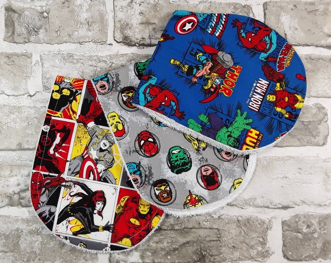 3x Superhero burp cloth,  Eco friendly, Organic, Cotton, Comic Book, Nerd Baby, Christmas baby, Alternative Parent Gift, Infant, Nursery D