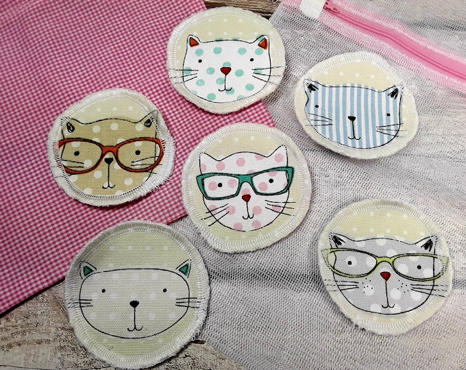 6 Cat face reusable face pads storage & wash bag Eco-friendly Makeup Removal Scrubbies Facial cleansing wipes, Zero waste, Ethical gift C