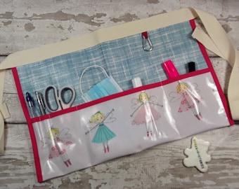 Teachers Apron Pocket Apron FAIRIES in pink Oilcloth PVC Vendor Apron, Garden Apron, Utility Belt Half Waist 3 pockets