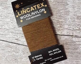 Brown Darning Mending wool in Army Khaki 10 metres Green Brown Eco-friendly Wool nylon mix