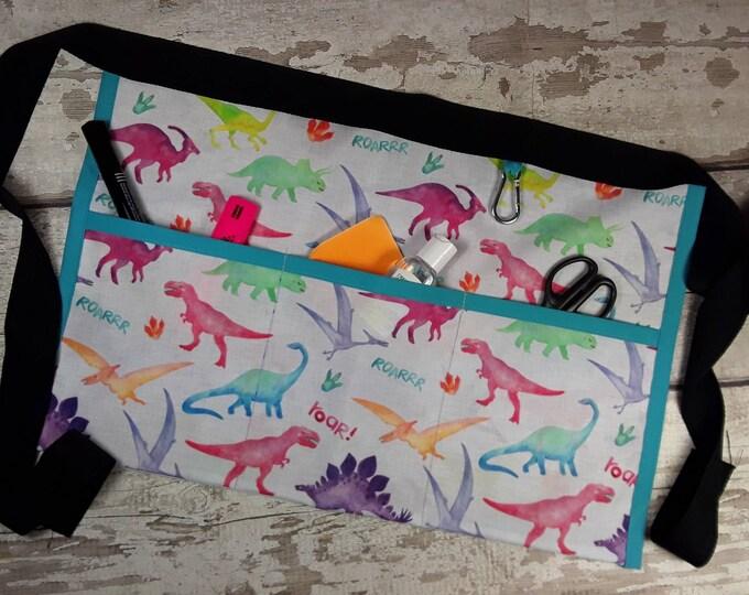 Waterproof fabric waist apron, Dinosaurs, Teacher Apron, 3 pockets, Outdoor apron, Gardening Apron, Waist apron,  NOT PVC, Wipeable apron