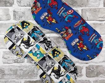 Superhero burp cloth x 2, Eco friendly, Organic, Cotton, Comic Book, Nerd Baby, Christmas baby, Alternative Parent Gift, Infant, Nursery C