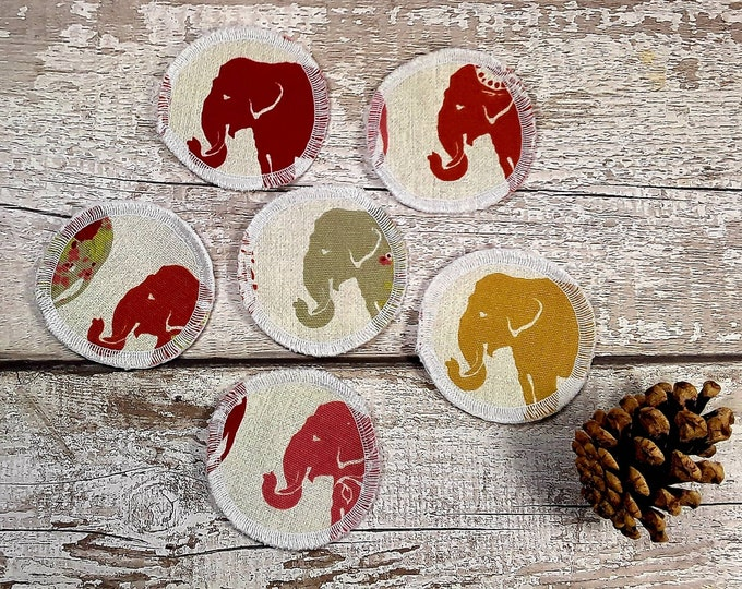 6 Elephant face reusable face pads storage & wash bag Eco-friendly Makeup Removal Scrubbies Facial cleansing wipes, Zero waste, Ethical gift