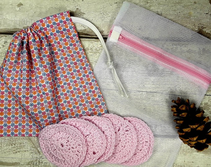 5 Reusable Cotton Crochet face pads storage bag & wash bag, Eco-friendly, Makeup removal, Scrubbies,Facial cleansing wipes, Gift G