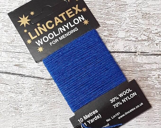 Blue Darning Mending wool in Royal blue 10 metres Eco