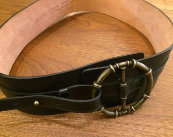 Black Leather Belt /w Decorative Belt - JOSEF