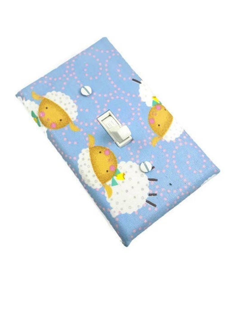 Lamb Nursery Decor Light Switch Cover in Baby Blue image 0
