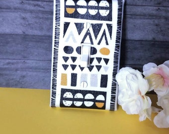 Tribal Home Decor, Abstract Design Light Switch Cover, Black and White Wall Decor Switchplate by Urban Swazi