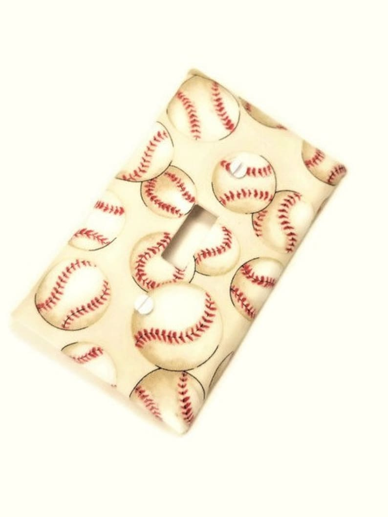Baseball Nursery Decor Light Switch Cover image 0