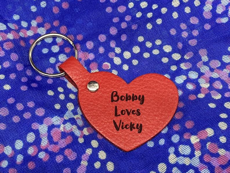 Custom Engraved Genuine Leather Heart Keyring