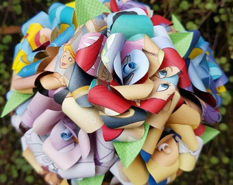 The Little Mermaid inspired Upcycled Book Bouquet-Decor-Wedding-Bridal Bouquets-Book lover gift- Paper Flowers- Wedding - mermaid gift-