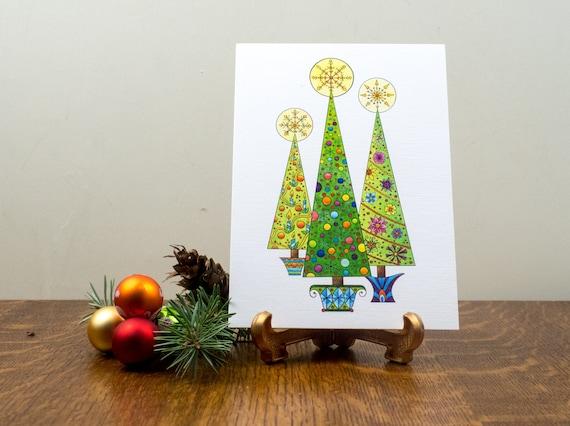 Modern Christmas Trees.Retro Christmas Tree Card Mid Century Modern Christmas Card