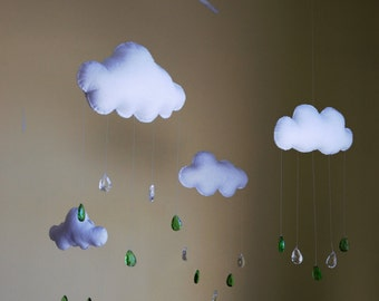 Rain Cloud Mobile Green
