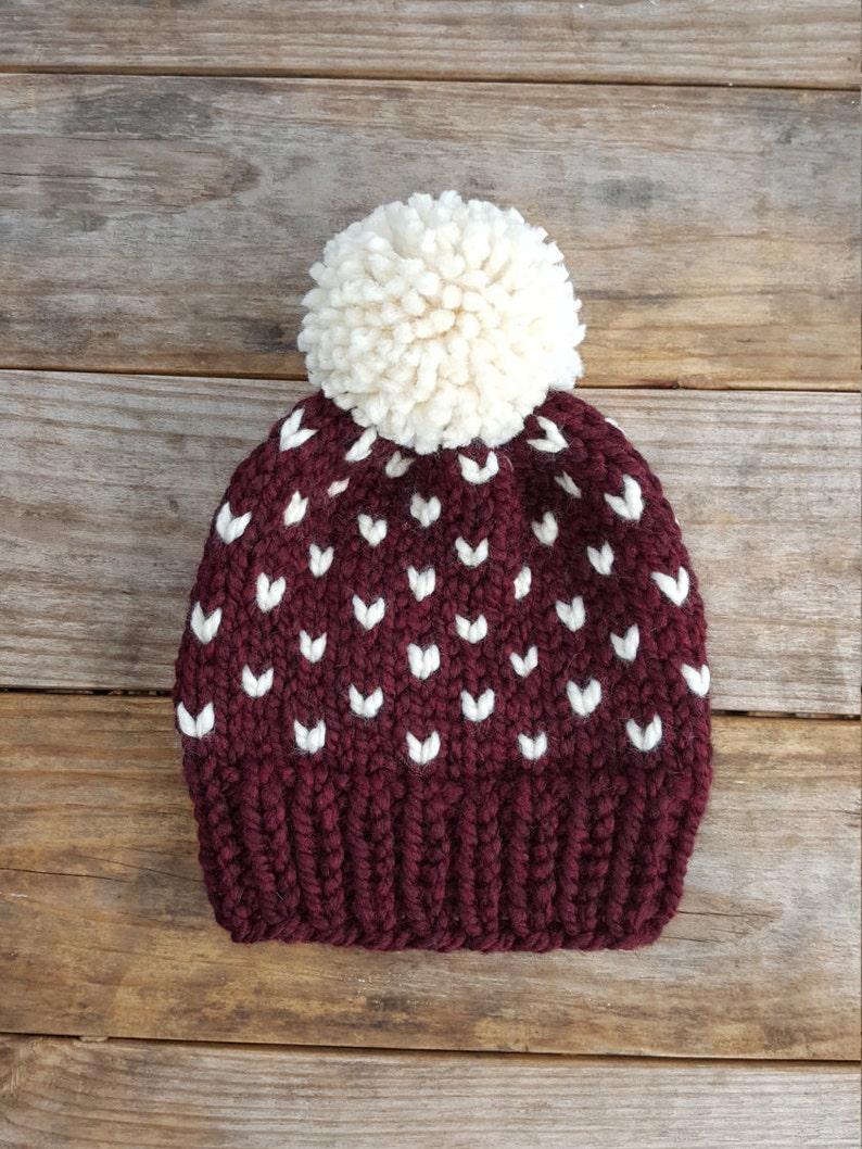 18c7e429f8b Slouchy Beanie Knit Hat Toque Pom Pom Hat Fair Isle Hat