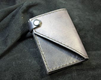 Grey Leather Wallet, Leather Card Holder, Tooled Leather Card Wallet, Leather Card Wallet, Viking Leather, Minimal leather