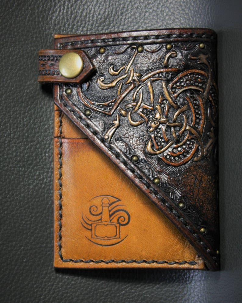 52a00ad087d0e Wikinger-Leder-Geldbörse keltische Herren ledergeldbörse