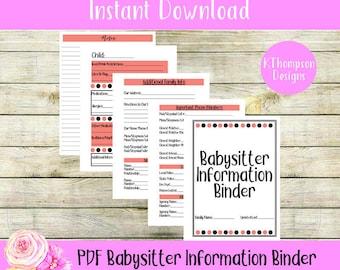 babysitter info etsy