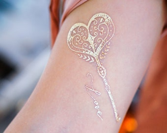cf749bcbf3e6e Lettering Boho White Gold Metallic tattoo Sticker Bohemian Jewellery Love  Heart Key tattoo Moon Arrow tattoo Swallow Temporary tattoo Flash