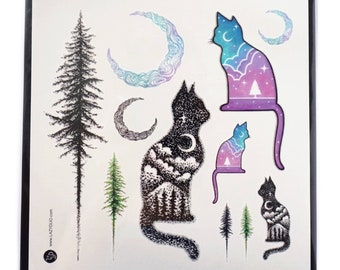 Christmas Tree Tattoo Small.Cute Cat Tattoo Cat Family Long Lasting Temporary Tattoos Etsy