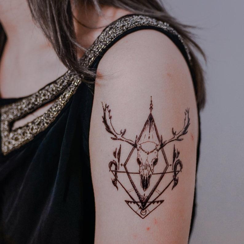 1b85a8c97 Deer tattoo Deer Skull Art Animal Temporary tattoos Long | Etsy