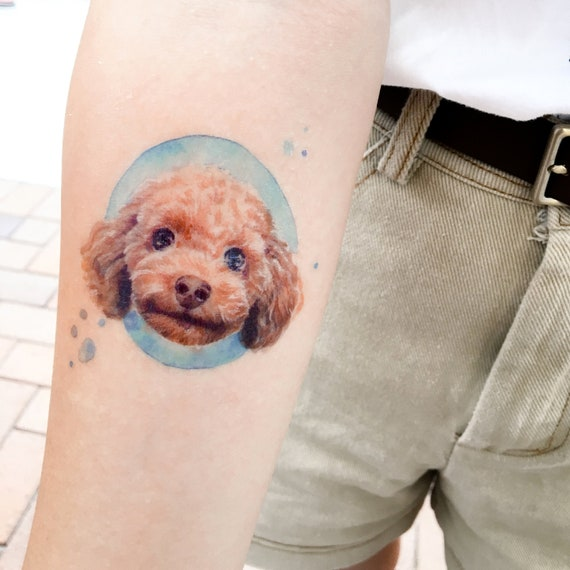 Dog Tattoos Watercolor Animal Temporary Tattoos Poodle Tattoo Stickers Puppy Tattoos Cute Doggie Tattoos Pet Tattoo Ideas Games Party Gifts
