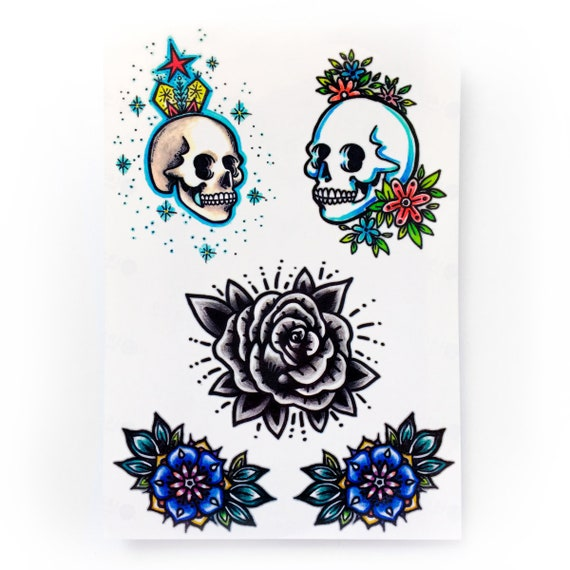 Lazy Duo Old School Tattoo Sticker Skull Skelton Tatouage Blue Etsy