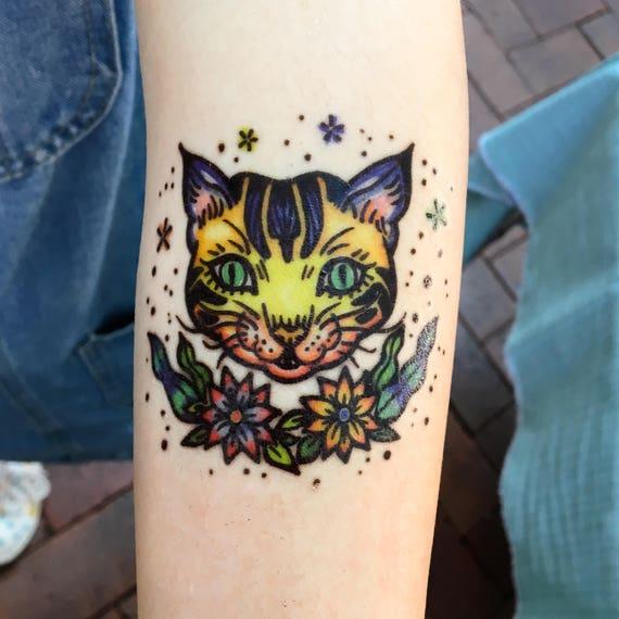 Old School Tattoo Old School Cat Tattoo Pop Color Tattoos Etsy
