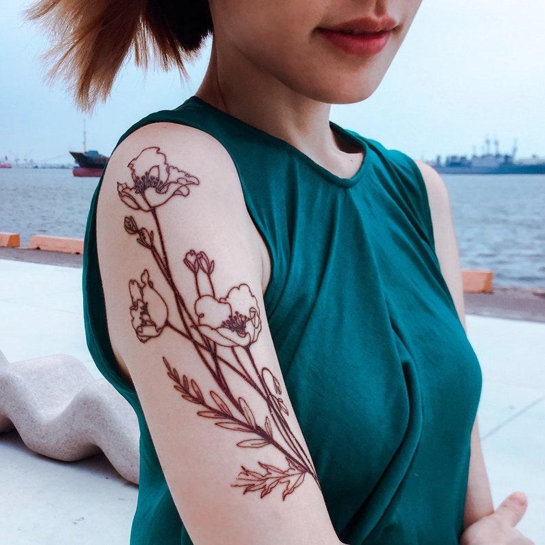 Large Poppy Flower TATTOO Red Poppy Flower Temporary tattoo  f7668305c044