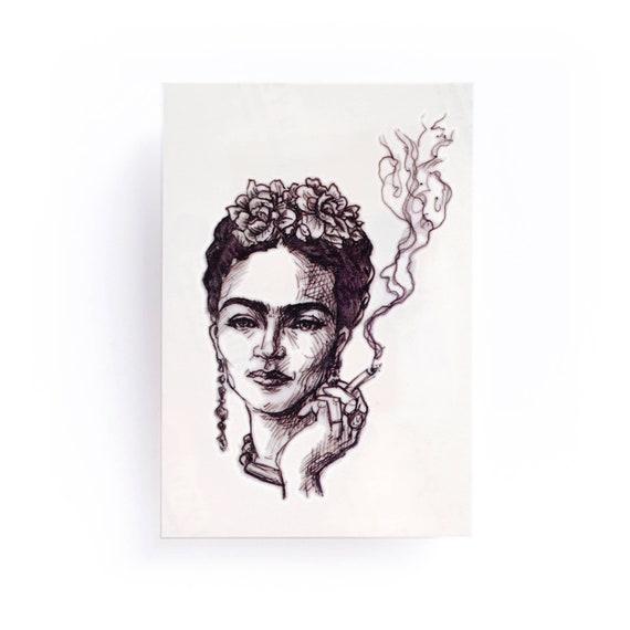 Frida Kahlo tattoo Mexican Artist Portrait Tattoo Smoke | Etsy