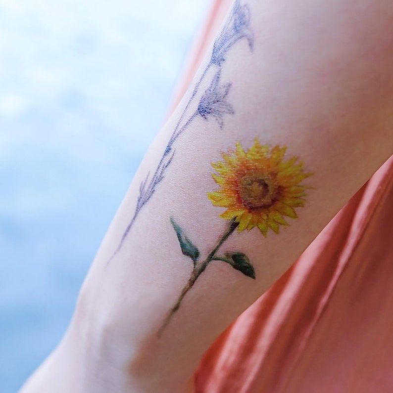 Watercolor Color Temporary Tattoo Sticker Long Lasting Flower Etsy