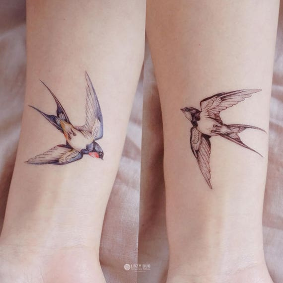 Couleur Temporaire Tatouage Hirondelle Tattoo Tatouage Oiseau Etsy