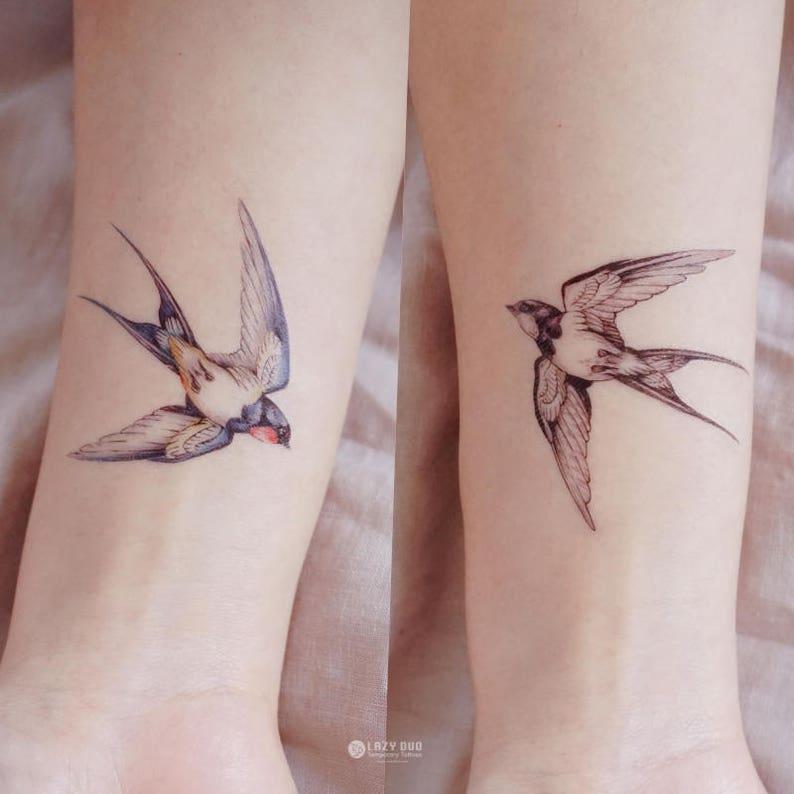 f8671c727 Color Temporary tattoo Swallow Tattoo Bird tattoo Peace Animal | Etsy