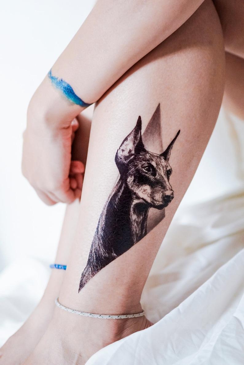 6b820319b LAZY DUO Doberman Pinscher tattoos Animal Temporary tattoos | Etsy