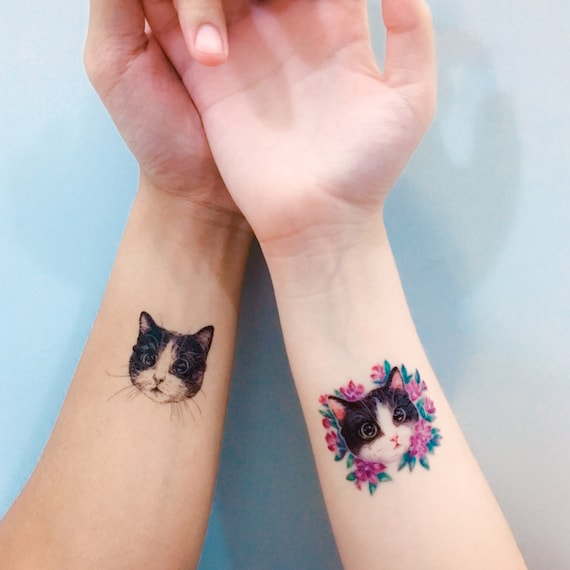 Cat Tattoo African Violet Flower Tattoo Couple Tattoos Etsy