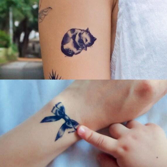 8e1be5a0d LazyDuo Temporary tattoos cat tattoo cat Temporary tattoos | Etsy