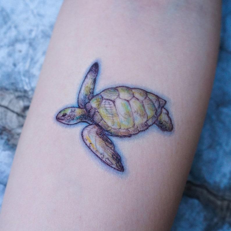 b974de930 Sea Turtle Watercolor tattoo Sticker Animal tattoo Ocean | Etsy