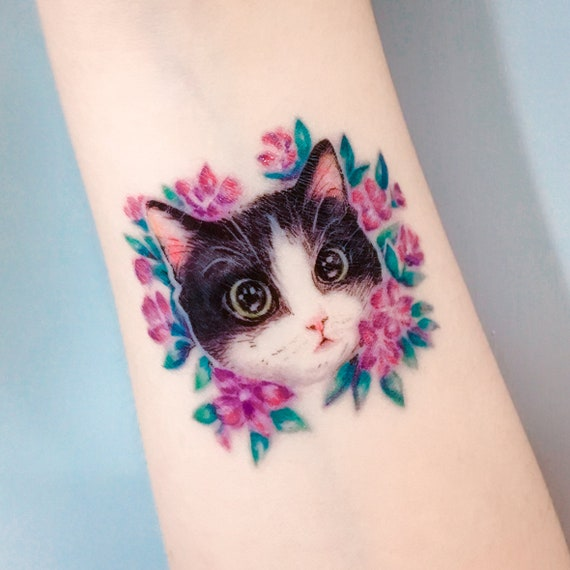 Cat Tattoo African Violet Flower Tattoo Couple Tattoos Matching Tattoos Festival Temporary Tattoo Party Temporary Tattoo Festival Accessoire