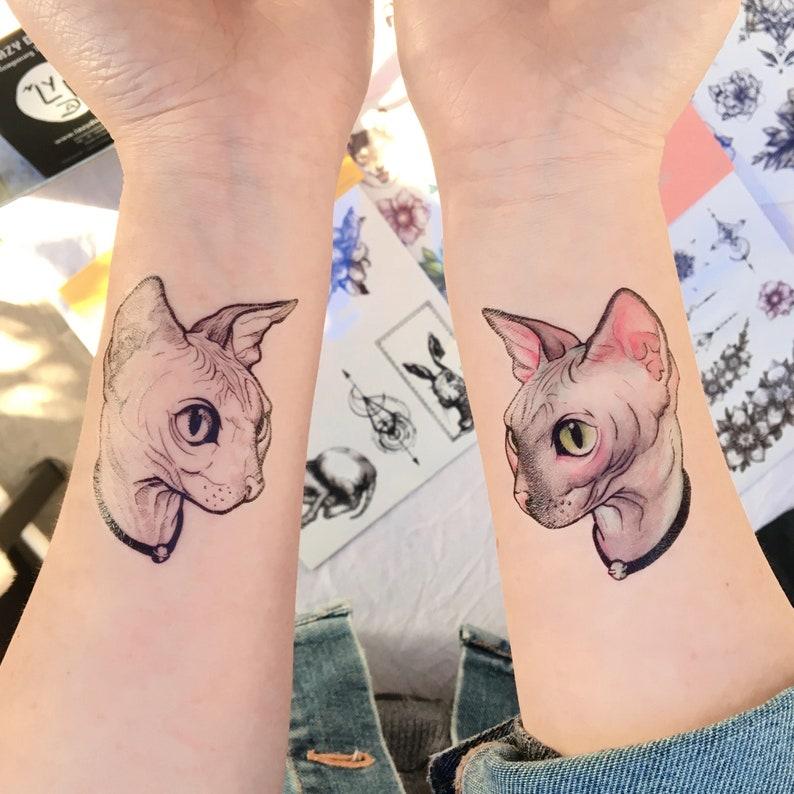 359018a73 Hairless cat tattoo Stickers Sphynx Cat tattoo Sphynx tattoo | Etsy