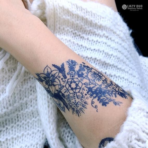 Flower Tattoo Sticker Floral Temporary Tattoo Flower Tattoos Floral Tattoo Bohemian Tattoos Boho Tattoos Flower Bracelet Tattoo Flower Band