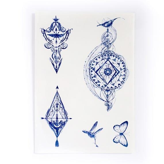 Bohemian Temporary Tattoo Large Galaxy Tattoo Long Lasting Tattoos Boho Tattoos Bohemian Tattoo Hummingbird Tattoo Realistic Tattoo Stickers