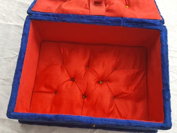 Napoleon III blue velvet sewing box jewelry box -… - image 7