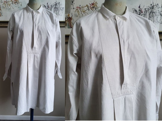 Grandfather shirt in peasant linen biaude work mon