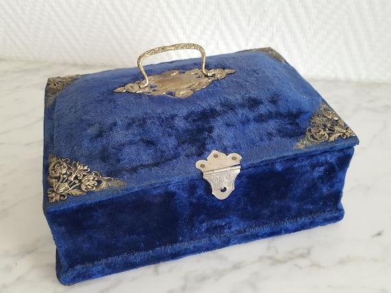Napoleon III blue velvet sewing box jewelry box -