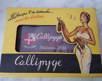 Pair of vintage stockings with seam Callipyge T10 2/30 years 50 13158