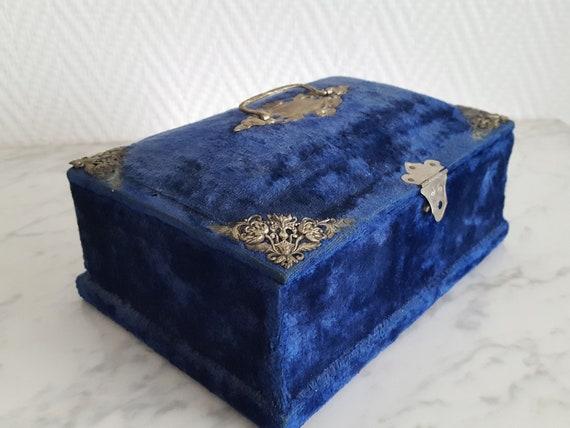 Napoleon III blue velvet sewing box jewelry box -… - image 2