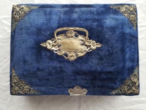 Napoleon III blue velvet sewing box jewelry box -… - image 5