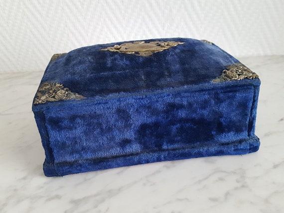 Napoleon III blue velvet sewing box jewelry box -… - image 3