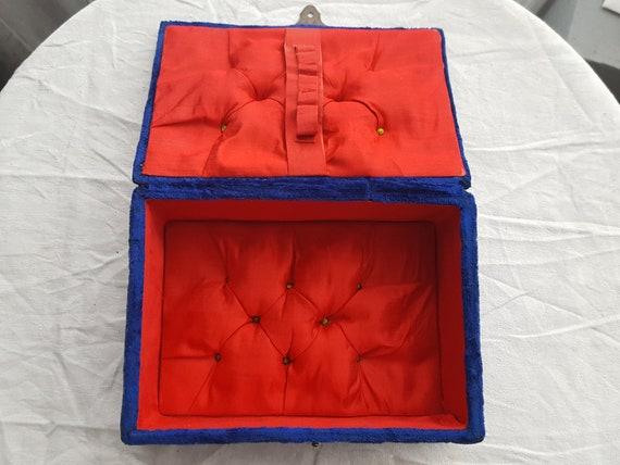 Napoleon III blue velvet sewing box jewelry box -… - image 6