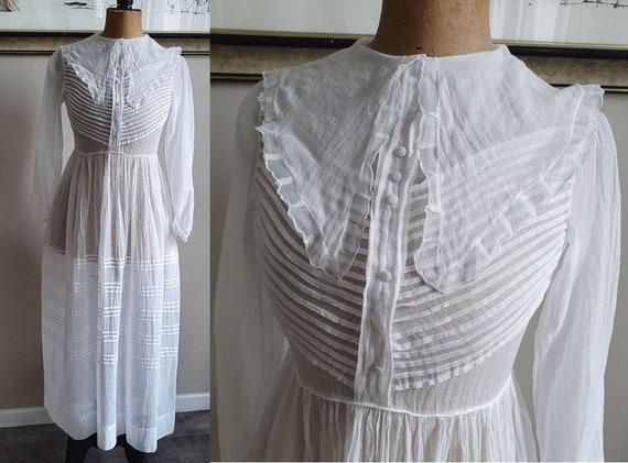 Ancient white cotton veil wedding communion dress